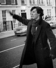 waving down a taxi