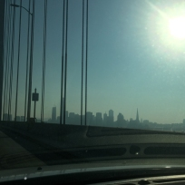 Bay Bridge with the sun beating down