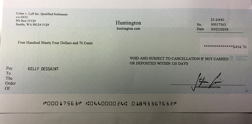 cotter-v-lyft-settlement-check